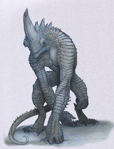 """Gorillizard"" by Mavros-Thanatos (Anastasios Gionis) Alien Concept Art, Creature Concept Art, Fantasy Monster, Monster Art, Dark Fantasy, Fantasy Art, Alien Creatures, Mythical Creatures, Creature Feature"
