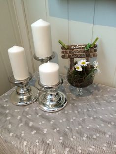 Konfirmasjon Candle Holders, Candles, Table Decorations, Furniture, Home Decor, Candy, Interior Design, Home Interior Design, Light House