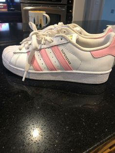 promo code ff08b f24c7 Adidas Superstars Pink Stripe Girls Sz 4  fashion  clothing  shoes   accessories  kidsclothingshoesaccs  girlsshoes (ebay link)