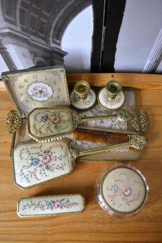 1940s Vintage Dressing Table Pe Point Lace Ormolu Filigree Vanity 9 Ps Set