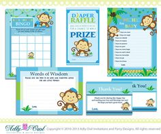 Blue Boy Monkey Baby Shower Essentials Printable Party Kit with Blue, green, navy, brown- ONLY digital file - you print ao01 on Etsy, $16.00