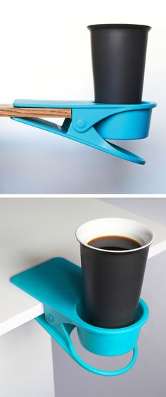Drink clip - keeps drinks off your desk and away from spilling on your computer #drinkklip #product_design