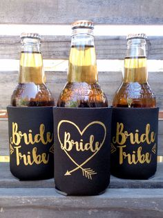 Bride Tribe Koozies, Black and Metallic Gold screen print by Celebr8tions