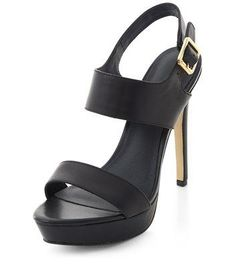 New Look Black Leather Chunky Strap High Vamp Heels #heels #women #covetme