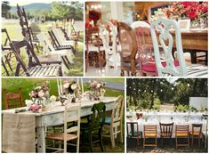 """Amistura na decoração de interiores que também anda fazendo bonito na decor de festas e eventos… Mix de cadeiras diferentes na mesma mesa, como compor?  Fotos: Pinterest. """"Para ser ins…"""