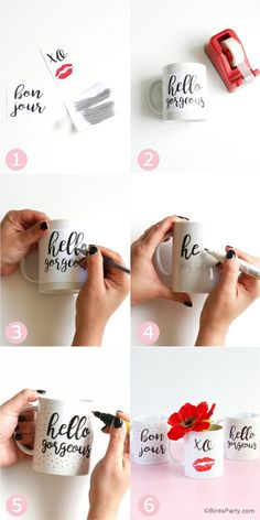 DIY Valentine& Day Easy Calligraphy Mugs DIY Valentine's Day Easy Calligraphy Mugs - learn to craft these beautiful handmade gifts with printed calligraphy and a sharpie pen! Sharpie Crafts, Sharpie Pens, Diy Sharpie Mug, Mug Crafts, Sharpies, Valentines Bricolage, Valentines Mugs, Diy Valentine, Diy Becher