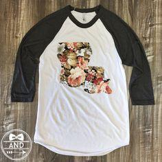 Louisiana Outline Baseball Tee-Floral