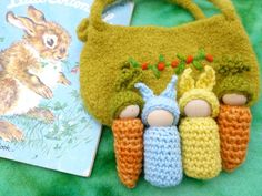 Bunny and Carrot peg dolls  in a  pouch set wood peg dolls felted bag Easter on Etsy, $20.00