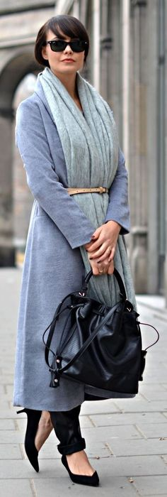 Blue Woolen Mid Calf Coat #Fashionistas