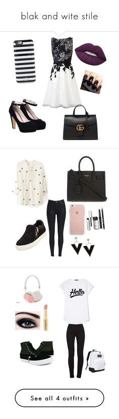 """""""blak and wite stile"""" by adelina-terecoasa ❤ liked on Polyvore featuring Coast, Gucci, Kate Spade, Lime Crime, WithChic, Ash, Yves Saint Laurent, Bobbi Brown Cosmetics, Burnetie and J Brand"""