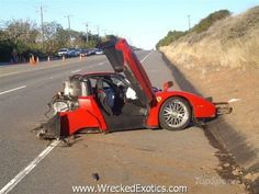 This is the world's highest known crash speed on open roads. There are only a handful of cars even capable of reaching these speeds. The driver was drunk and pushing the limits of this $1.3 million car on the Pacific Coast Highway when he lost control of his Ferrari Enzo and at 196 mph and crashed into a utility pole. Miraculously, he walked away from the accident.