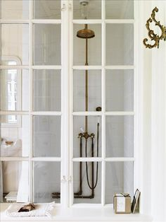 french doors + brass waterworks shower head