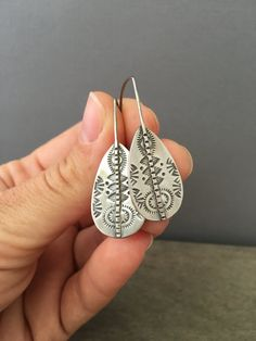 Small stamped sterling silver earrings - paddle earrings