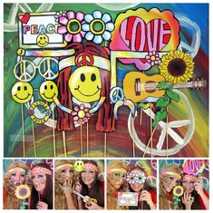hippie wedding ideas | The hippie photo booth props for a sixties party or flower power theme ...