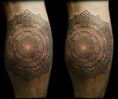 My calf Mandala. Design initally by Thomas Hooper. Tattooed by Eric the Viking at Happy Sailor in Shoreditch, London.
