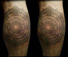 My calf Mandala. Design initally by Thomas Hooper. Tattooed by Eric the Viking at Happy Sailor in Shoreditch, London.