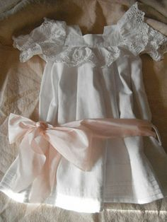 Vintage French Christening  Dess, Pretty Pink Bow,