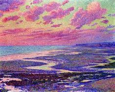 Theo van Rysselberghe, The Beach At Ambleteuse At Low Tide, 1900 | Pointillism Art | Pointillist Art Projects | Art Movements | Painting For Beginners | Art Ideas