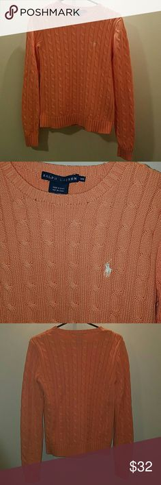 POLO peach crew neck sweater Peach, crew neck cable sweater. Worn a few times no rips or pulls in material. Cotton. Fits a bit short - sits above belt.  White pony shown Polo by Ralph Lauren Sweaters Crew & Scoop Necks
