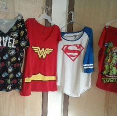 Super hero shirts New. The marvel shirt neck line was cur into a v . Tops Tees - Short Sleeve
