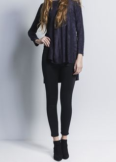 Long deep blue T-shirt with black leggins and black booties.  #Leggin #black #tshirt #deepblue #booties #outfits