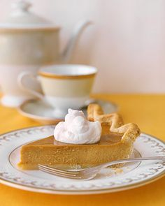 Pumpkin Pie    This is a picture-perfect homemade pumpkin pie, starting with fresh sugar-pumpkin puree and spiced with ginger, cinnamon, and cloves. A mixture of egg and cream is brushed on the crust before baking to create a gorgeously shiny golden finish.    Read more at Marthastewart.com: Recipes for Fall from Martha Stewart