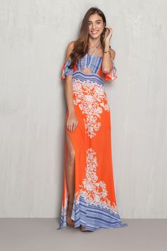 Vestido longo estampado marina | Dress to