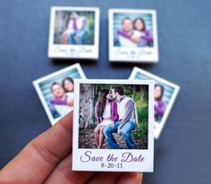These mini Polaroid magnets are adorable and a must have for your Save the  Date!  Photo Source: LovelyWeddingDay.com