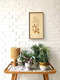 Vintage Bild, Blumenbild, Mid Century Kunst, Trockenblumen Bild, Pressblumen im Rahmen, Made in Germany von moovi auf Etsy
