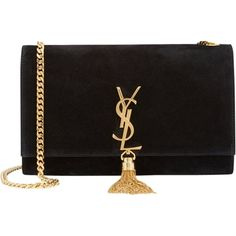 Pre-owned Saint Laurent New Ysl Noir (black) Suede Monogram Medium... found on Polyvore featuring bags, handbags, shoulder bags, black, black suede handbag, crossbody shoulder bags, black crossbody purse, black suede purse and black shoulder bag