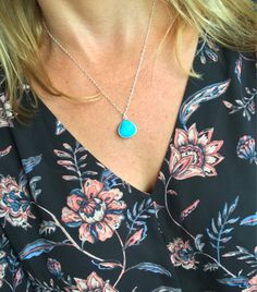 Turquoise Pendant Necklace, Sterling Silver Turquoise Necklace, Turquoise Pendant, Teardrop Turquoise, Something Blue, Simple Turquoise by SweetGemDrop on Etsy