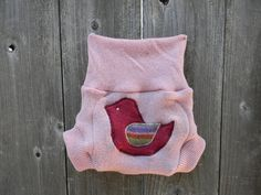 Upcycled Wool  Soaker Cover Diaper Cover With Added Doubler Pink  With Birdy Applique SMALL 3-6M Kidsgogreen