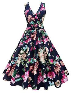 vestidos Vintage V-Neck Floral Printed Midi Skater Dress Vintage Dresses Online, Plus Size Vintage Dresses, Plus Size Dresses, Pin Up Dresses, Ball Gown Dresses, Fashion Dresses, Prom Dress, Dress Party, Women's Fashion Dresses
