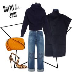 Outfit du Jour: It's all about heart, navy oversized coats and sweaters and a bit of leopard with a pop of orange bag!
