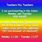 TpT Cyber Monday and Tuesday Sale!!! Shop my social studies store on Monday 11/26 and Tuesday 11/27 to get 10% off on all of my products, as well as the TpT site discount at checkout. Don't forget to use the promo code CMT12.  Happy shopping!  :)
