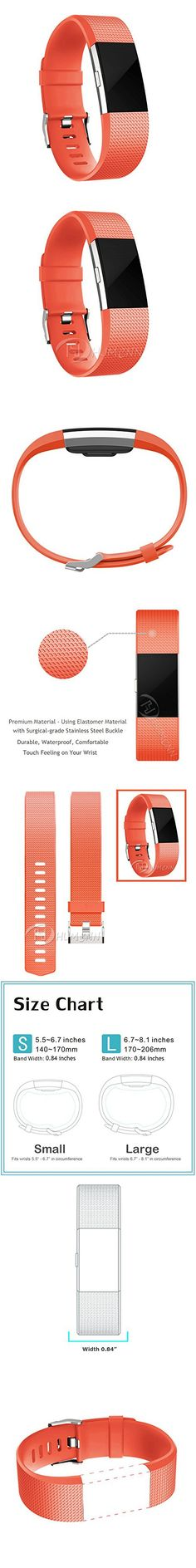 Small Bands for Fitbit Charge 2 Heart Rate, Tangerine Orange Replacement Wrist Band