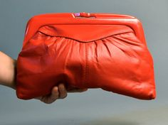 1980s Red Leather Clutch by SpanoVintage on Etsy, $18.00