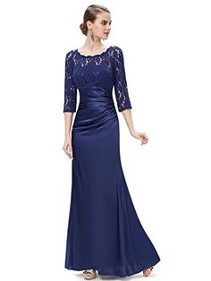 Ever Pretty Womens Fitted Illusion Neckline Long Satin Mother of the Bride Dress 8 US Navy Blue