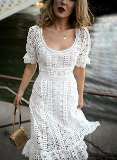 love this white floral embroidered lace midi dress 👠 Stylish outfit ideas for women who love fashion! Trendy Dresses, Nice Dresses, Casual Dresses, Fashion Dresses, Dinner Dresses, Flower Dresses, Ladies Dresses, Casual Outfits, White Lace Dresses