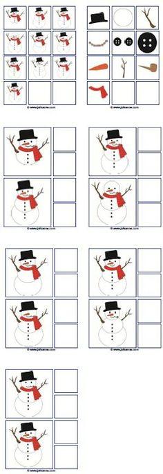 Materiaal bijbehorend bij de digibordles: sneeuwpoppenspel