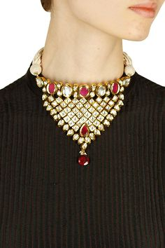 Gold finish kundan and pearl studded choker necklace available only at Pernia's Pop Up Shop.