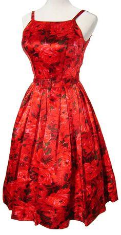 Vintage 60s Red Rose Party Dress Cocktail Evening Prom Anne Klein Jr Sophisticates via Etsy.