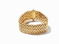 Gliederarmband in Geometrischem Design, 18K Gold, um 1940 18 Karat GelbgoldVerona, Italien, um 1940P