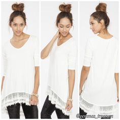 """LISTING‼️Solid White Lace Tunic Dress Flirty, flowy, and ready for wear!  MADE IN THE USA 94% Rayon 6% Spandex  S, M, 1-2-0 FLAT MEASUREMENTS:  SMALL: B: 18"""" W: 19"""" L: 31""""/34""""  MED B: 19"""" W: 20"""" L: 34""""/39""""  LARGE B: 20"""" W: 21"""" L: 34""""/39"""" SOLD DIRECT FROM VENDOR, NEW WITHOUT TAG Tops"""