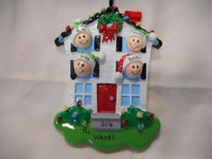 4 family house ornament//personalized christmas ornament//family of 4 house ornament//christmas ornament//personalized by sandkwoodcrafts on Etsy
