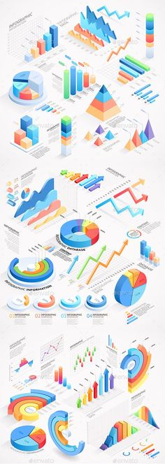 Buy Infographics Isometric Elements by graphixmania on GraphicRiver. Can be used for workflow layout, banner, diagram, web design. Isometric Drawing, Isometric Design, Graph Design, Web Design, 3d Data Visualization, Infographic Templates, Infographics Design, Psd Templates, Charts And Graphs
