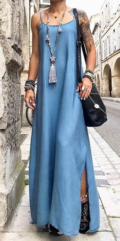 Sexy pure color sling slit dress, blue color and size s to plus size style, youmust love it, shop now! Xl Fashion, Fall Fashion Trends, Cute Fashion, African Fashion, Autumn Fashion, Nice Dresses, Casual Dresses, Everyday Dresses, Chic Dress