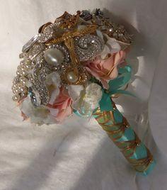 Wedding Brooch Bouquet- Crystal Brooch Bouquet- Diamond Jeweled Bridal Broach Bouquet