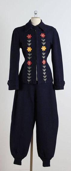Vintage 1940s Navy Embroidered Wool Ski Suit