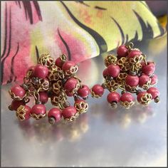 Rose Pink Vintage Earrings West Germany 1950s Jewelry $35